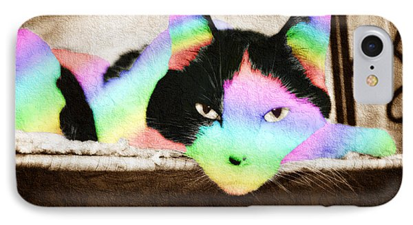 Rainbow Kitty Abstract Phone Case by Andee Design
