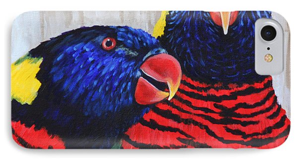 Rainbow Lorikeets IPhone Case by Penny Birch-Williams