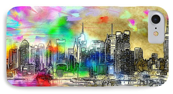 Rainbow Nyc Skyline IPhone Case by Daniel Janda