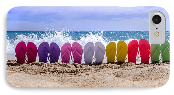 Rainbow Of Flip Flops On The Beach IPhone Case