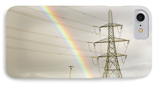 Rainbow Over Electricity Pylons IPhone Case by Ashley Cooper