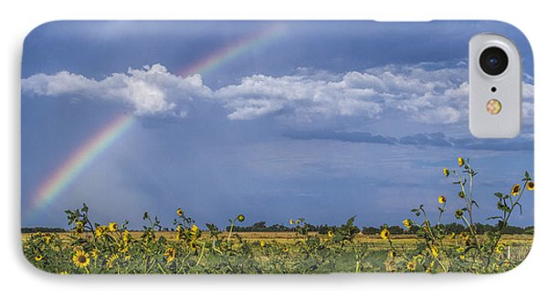 IPhone Case featuring the photograph Rainbow Over Sunflowers by Rob Graham