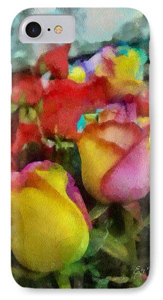 Rainbow Roses Watercolor Digital Painting IPhone Case by Eti Reid