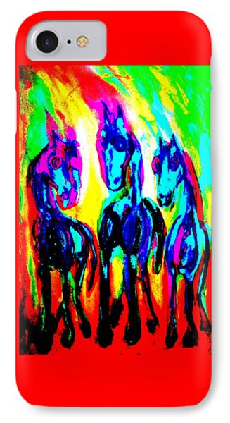 The Rainbow Stallions Don't Wanna Be Race Horses  IPhone Case by Hilde Widerberg