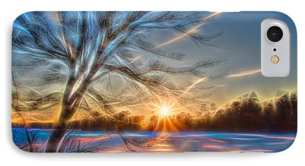 Rainbow Sunset On Snow Covered Lake IPhone Case