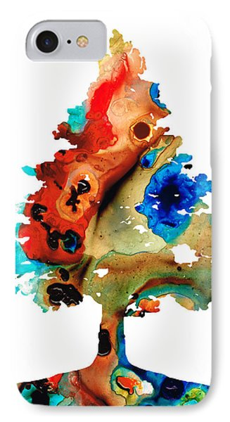 Rainbow Tree 2 - Colorful Abstract Tree Landscape Art Phone Case by Sharon Cummings