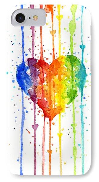 Rainbow Watercolor Heart IPhone Case