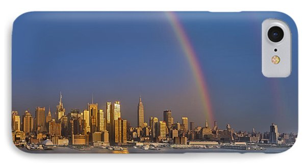 Rainbows Over The New York City Skyline Phone Case by Susan Candelario