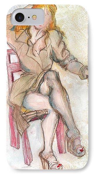Raincoat Girl IPhone Case by Carolyn Weltman