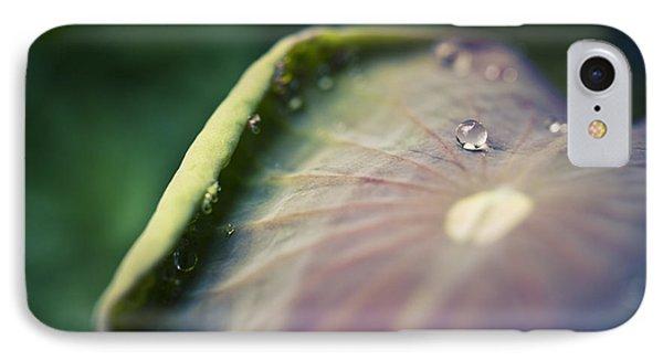 Raindrops On A Lotus Leaf Phone Case by Priya Ghose