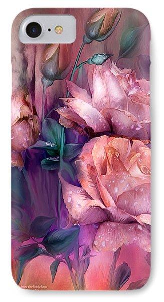 Raindrops On Peach Roses IPhone Case by Carol Cavalaris
