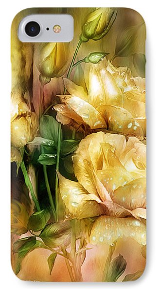 Raindrops On Yellow Roses IPhone Case by Carol Cavalaris
