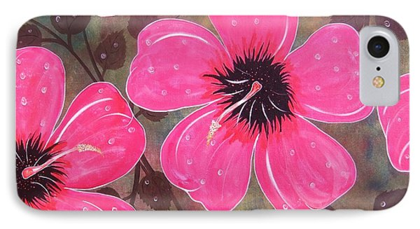 IPhone Case featuring the painting Rainey Day Pink Hibiscus by Cindy Micklos