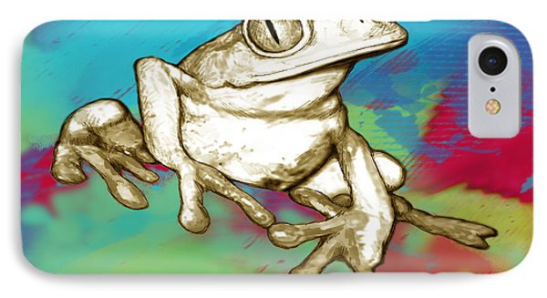 Rainforest Frog Stylised Pop Art Drawing Portrait Poster IPhone Case