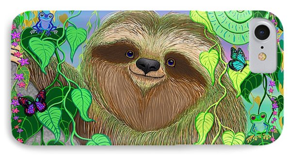 Rainforest Sloth IPhone Case by Nick Gustafson