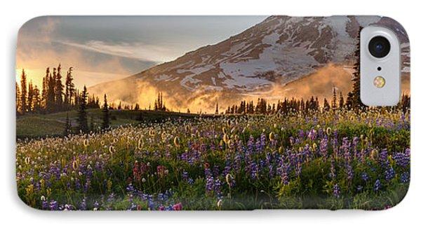 Rainier Golden Light Sunset Meadows IPhone Case by Mike Reid