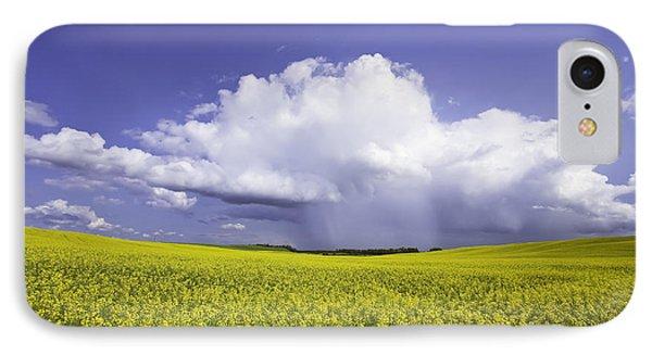 Rainstorm Over Canola Field Crop Phone Case by Ken Gillespie