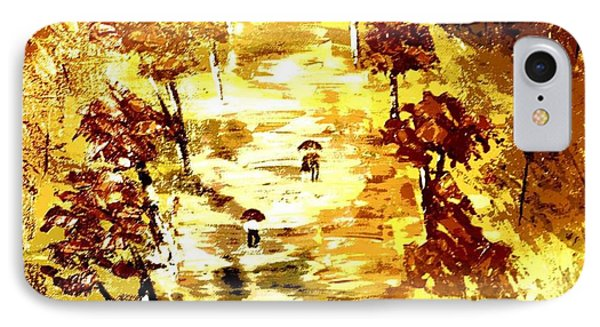 IPhone Case featuring the painting Rainy Autumn Trail  by Denise Tomasura