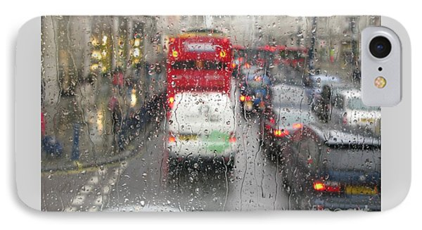 Rainy Day London Traffic IPhone Case by Ann Horn