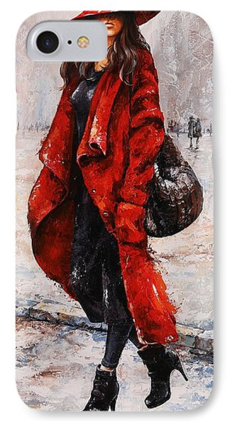 Rainy Day - Red And Black #2 IPhone Case by Emerico Imre Toth