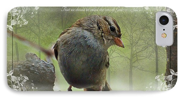 Rainy Day Sparrow With Verse IPhone Case by Debbie Portwood