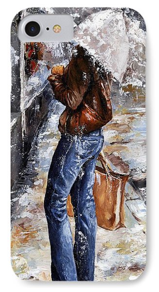 Rainy Day - Woman Of New York 15 Phone Case by Emerico Imre Toth