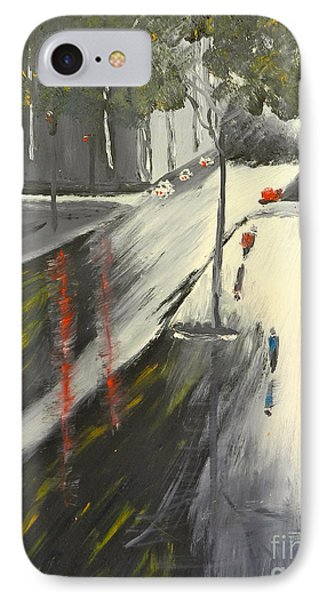 IPhone Case featuring the painting Rainy Street In Melbourne by Pamela  Meredith