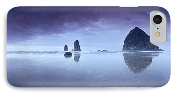 IPhone Case featuring the photograph Rainy Sunset Over Cannon Beach by Sebastien Coursol