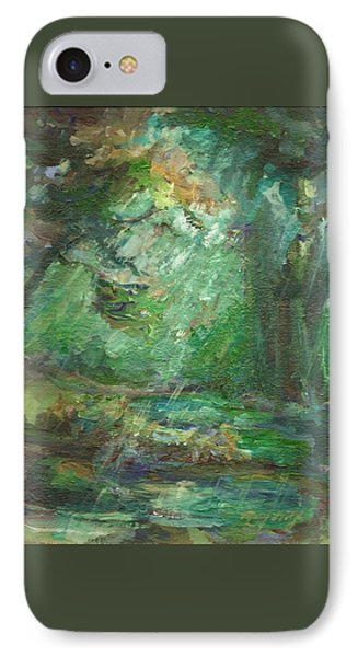 IPhone Case featuring the painting Rainy Woods by Mary Wolf