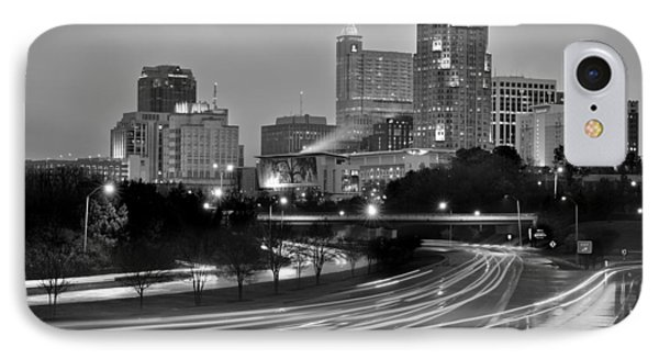 IPhone Case featuring the photograph Raleigh Skyline At Dusk Evening Black And White Bw Evening Panorama North Carolina Nc by Jon Holiday