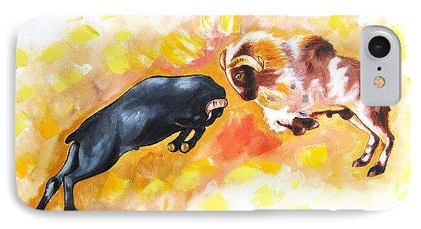 IPhone Case featuring the painting Ram Fighting... by Ragunath Venkatraman