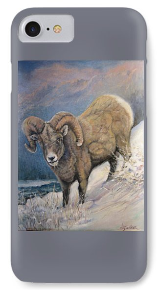 IPhone Case featuring the painting Ram In The Snow by Donna Tucker