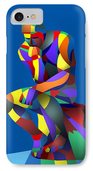 IPhone Case featuring the digital art Randy's Rodin Blue by Randall Henrie