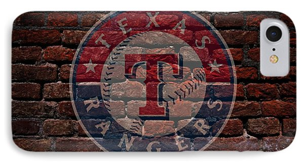 Rangers Baseball Graffiti On Brick  IPhone Case by Movie Poster Prints