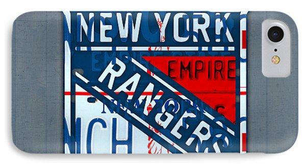Rangers Original Six Hockey Team Retro Logo Vintage Recycled New York License Plate Art IPhone Case