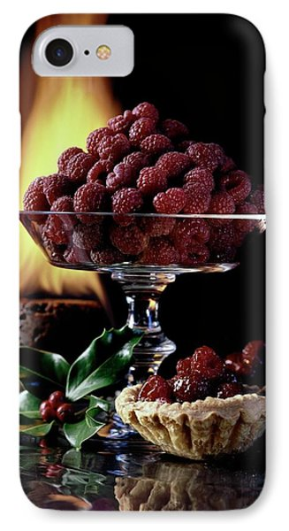 Raspberries In A Glass Serving Dish With Tarts IPhone Case by  Fotiades
