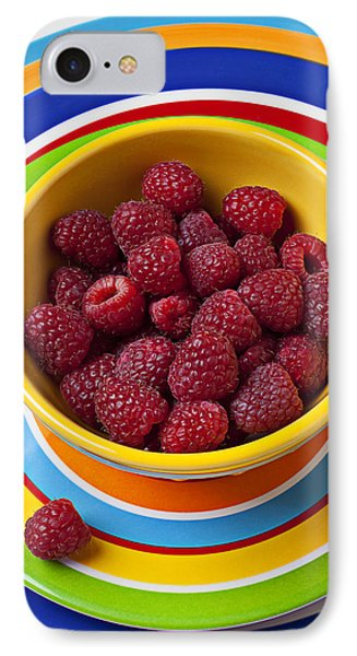 Raspberry iPhone 7 Case - Raspberries In Yellow Bowl On Plate by Garry Gay