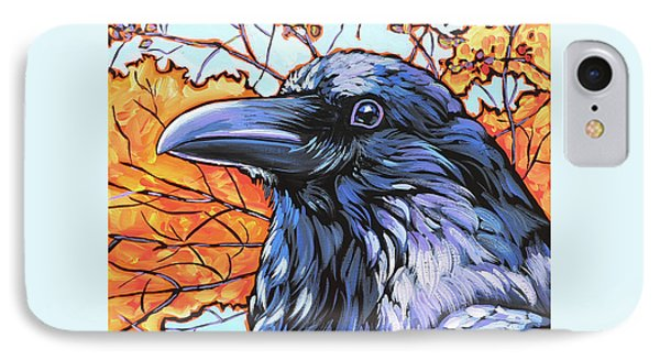 Raven Head Phone Case by Nadi Spencer