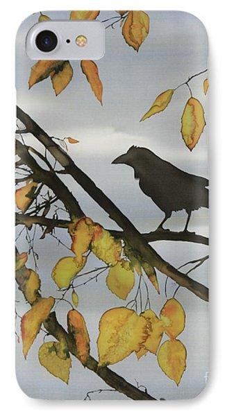 Raven In Birch IPhone Case by Carolyn Doe