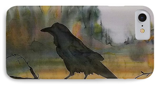 Raven In Orange Birch Phone Case by Carolyn Doe
