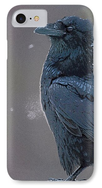 Raven In Snow- Abstract Phone Case by Tim Grams