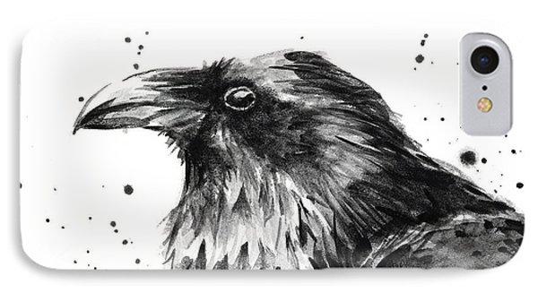 Crow iPhone 7 Case - Raven Watercolor Portrait by Olga Shvartsur