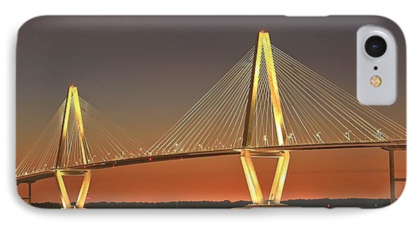 Ravenel Bridge At Dusk IPhone Case by Adam Jewell