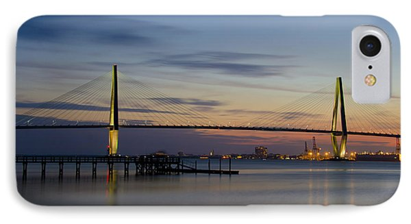 Ravenel Bridge Nightfall IPhone Case by Dale Powell