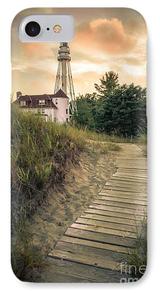 Rawley Point Lighthouse Under Smoldering Skies IPhone Case by Mark David Zahn