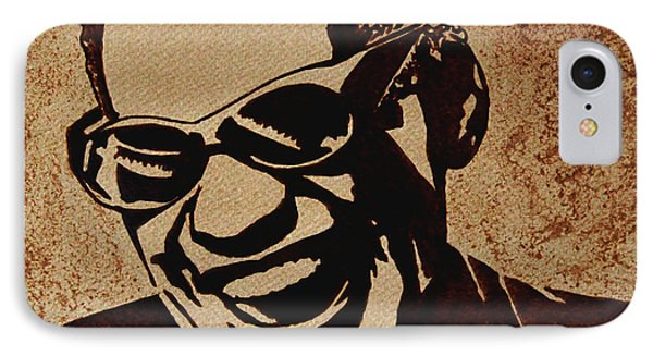 Ray Charles Original Coffee Painting Phone Case by Georgeta  Blanaru