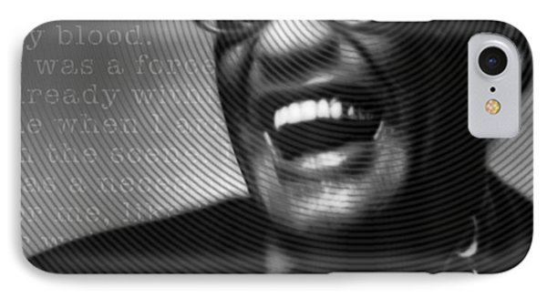 Ray Charles Robinson And Quote Black And Gray IPhone Case by Tony Rubino
