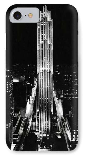 Rca Building At Night In Nyc IPhone Case by Underwood Archives