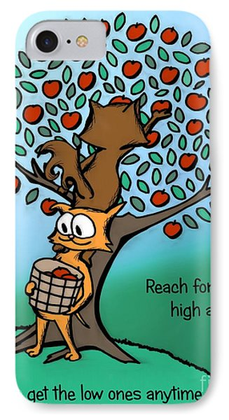 IPhone Case featuring the drawing Reach For The High Apples by Pet Serrano