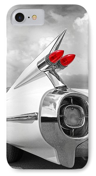 Reach For The Skies - 1959 Cadillac Tail Fins Black And White IPhone Case by Gill Billington